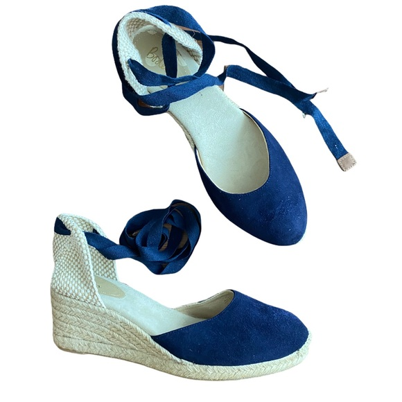 Boden Cassie Espadrille Wedges - Navy NWOB or tags